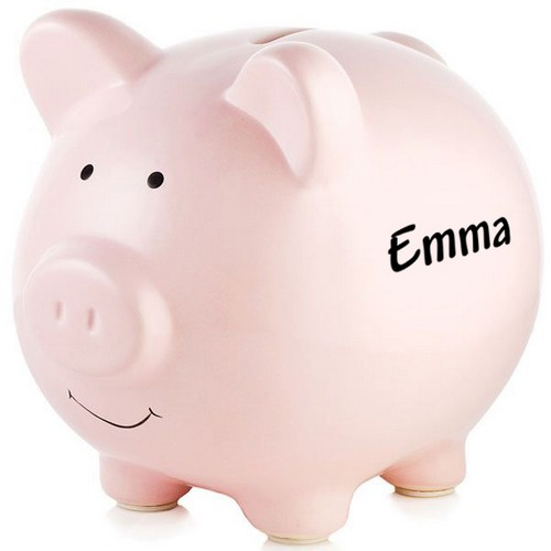 Personalized Pink Ceramic Piggy Bank