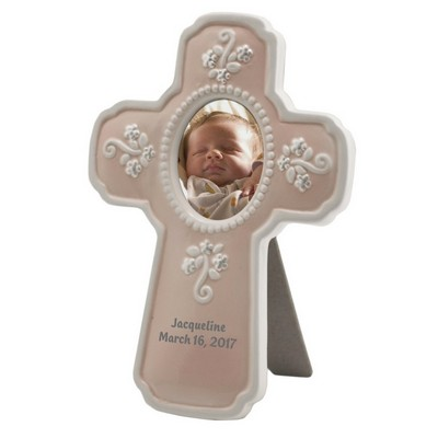 Personalized Pink Ceramic Religious Cross