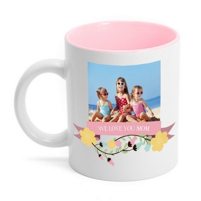 Personalized Pink Mom Photo Mug