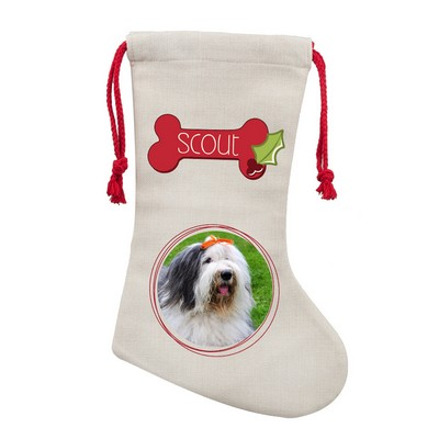 Personalized Poly Linen Christmas Stocking for Pets