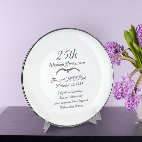 Personalized Porcelain 25th Anniversary Plate with Silver Rim