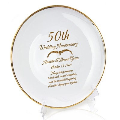 Personalized Porcelain 50th Anniversary Plate with Gold Rim