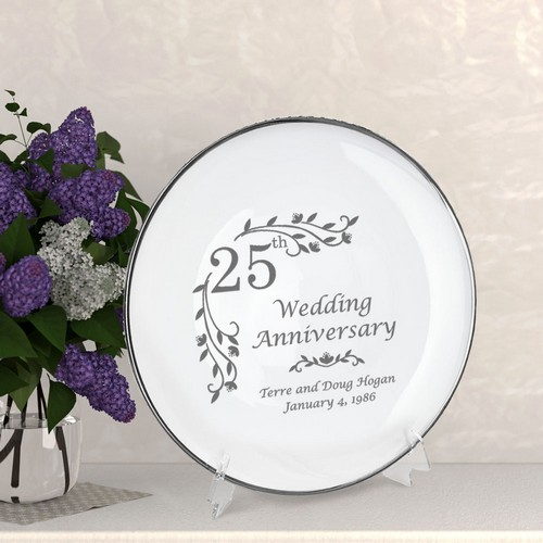 Personalized Porcelain Floral 25th Anniversary Plate with Silver Rim