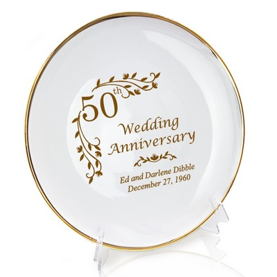 Personalized Porcelain Floral 50th Anniversary Plate with Gold Rim