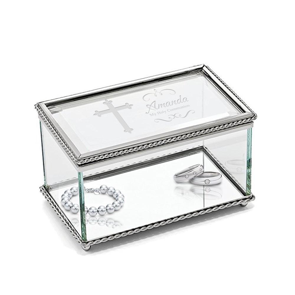 Personalized Rectangular Glass Trinket Box With Cross