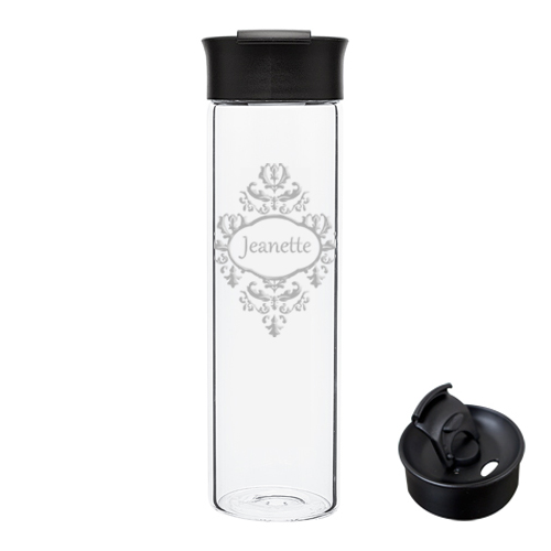 Personalized Reusable Glass Brocade Water Bottle
