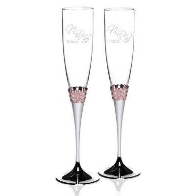 Personalizeed Rose Gold Band Glass Champagne Flute Set
