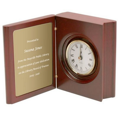 Personalized Rosewood Book Clock with Brass Plate