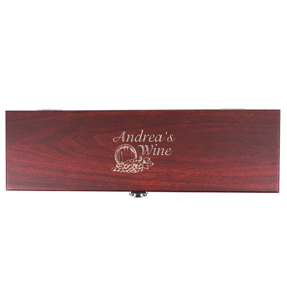Personalized Rosewood Finish Wine Gift Box With Accessories