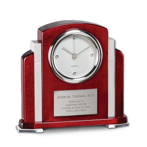 Superb Personalized Rosewood Piano Finish Clock With Aluminum Accent