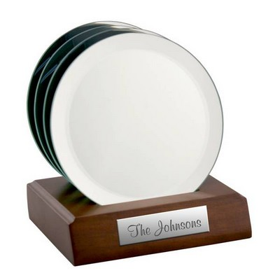 Personalized Round Mirrored Glass Coaster Set on Wood Base
