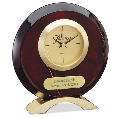 Personalized Round Rosewood Desk Clock