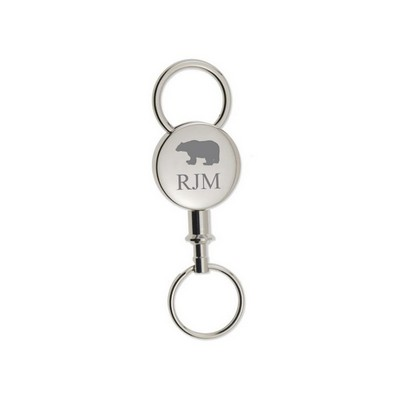 Personalized Round Silver Detachable Key Chain with Bear