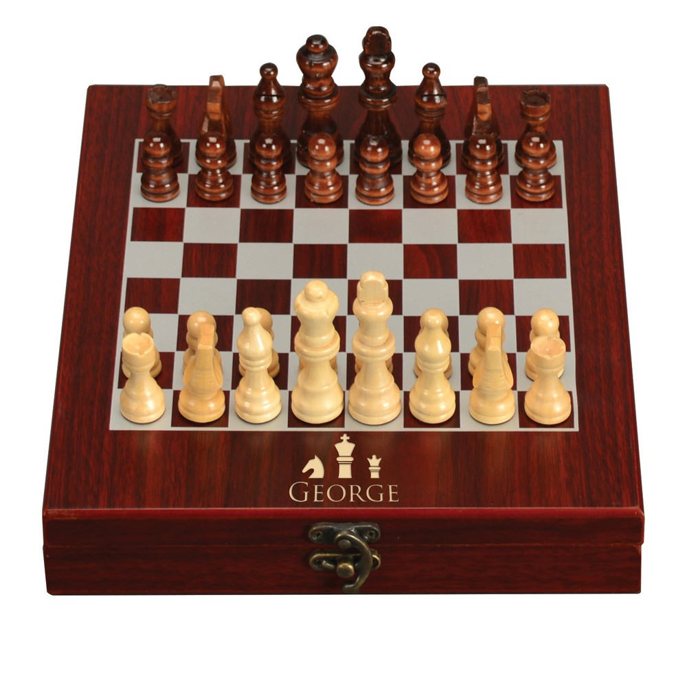 Personalized Gifts: Personalized Royal Chess Set In Rosewood Box