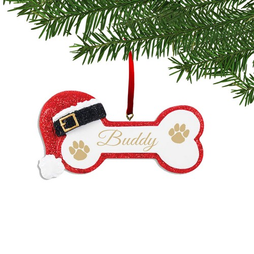 Personalized Santa Dog Bone Ornament