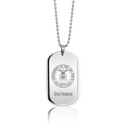 Personalized Silver Airforce Dog Tag Necklace