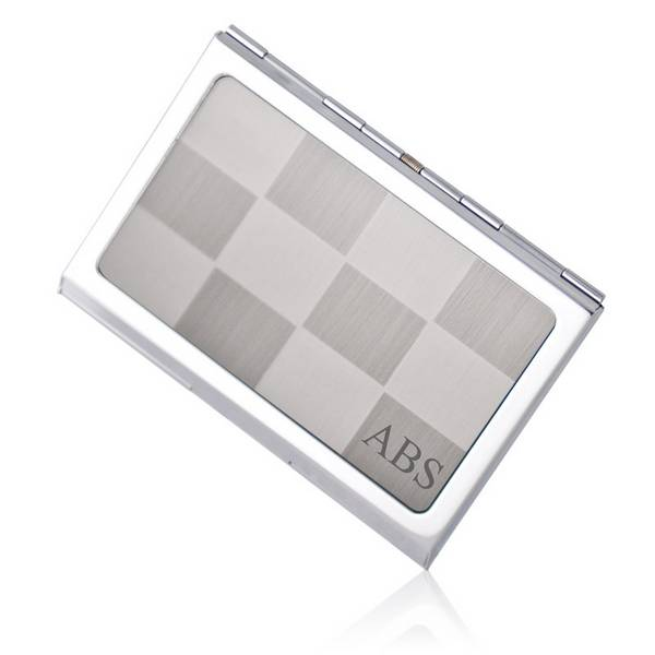 Personalized silver checkered business card holder colourmoves
