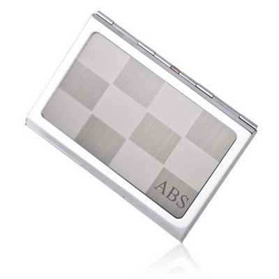 Personalized Silver Checkered Business Card Holder