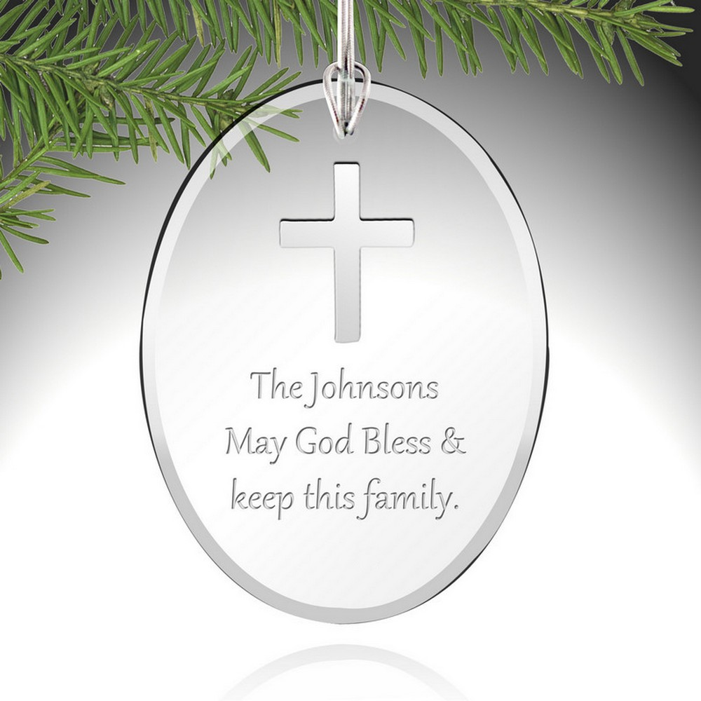 Engraved glass ornaments - Personalized Silver Cross Glass Ornament