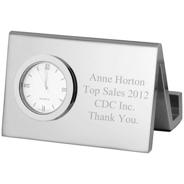 Fresh Personalized Silver Desk Clock with Business Card Holder RH41