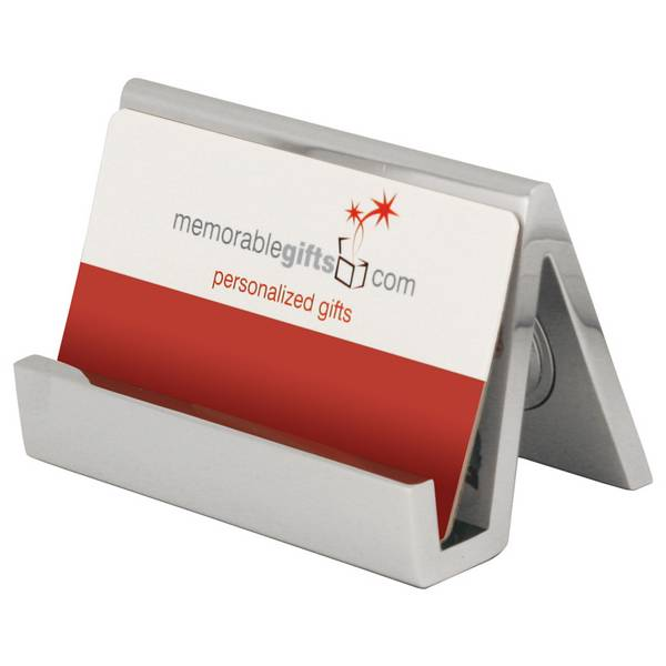 Personalized silver desk clock with business card holder colourmoves