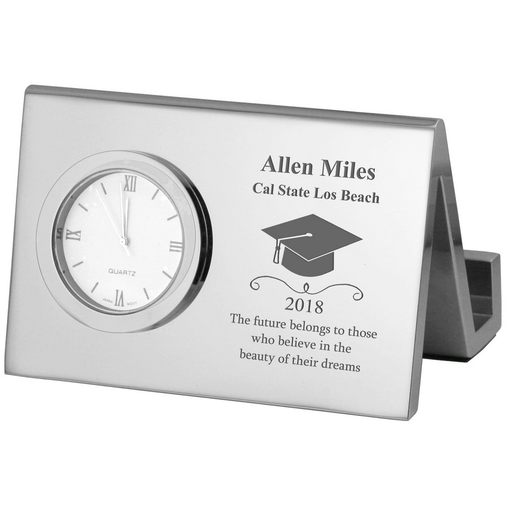 Personalized Silver Desk Clock with Business Card Holder for Graduates
