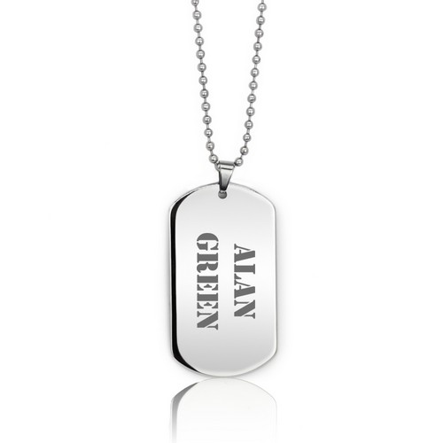Classic Personalized Silver Dog Tag Necklace for Him