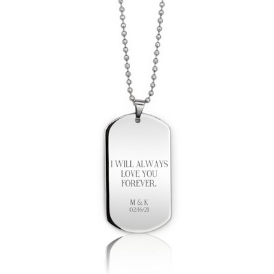 Handsome Personalized Silver Dog Tag Necklace for Him