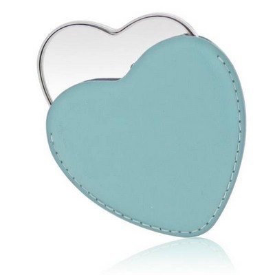 Personalized Silver Heart Shaped Mirror in Blue Leatherette Pouch