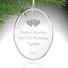 Personalized Couples First Christmas Glass Ornament: