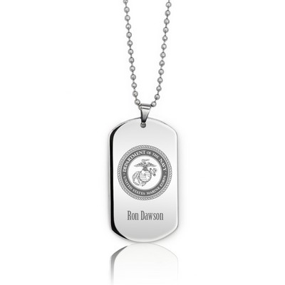 Popular Personalized Silver Marine Dog Tag Necklace