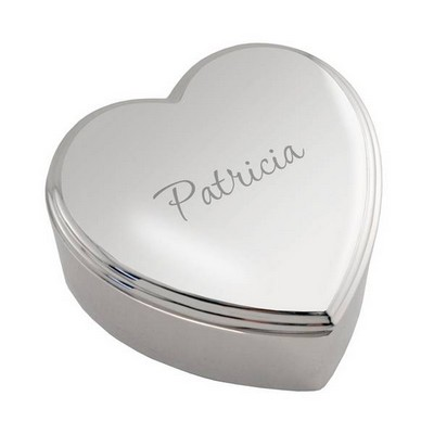 Personalized Silver Modern Heart Keepsake Box