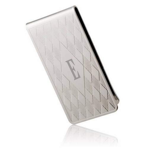 Personalized Silver Plated Harlequin Money Clip