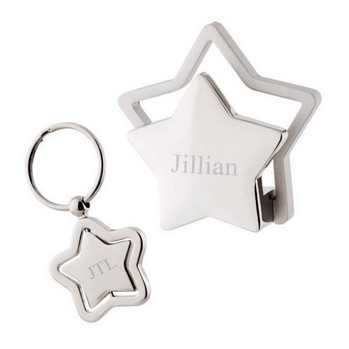 Personalized Silver Star Card Holder and Keychain Set