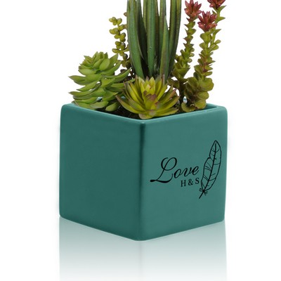Personalized Small Blue Ceramic Succulent Vase for Couples