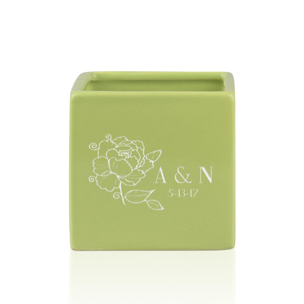 Personalized Small Green Ceramic Vase