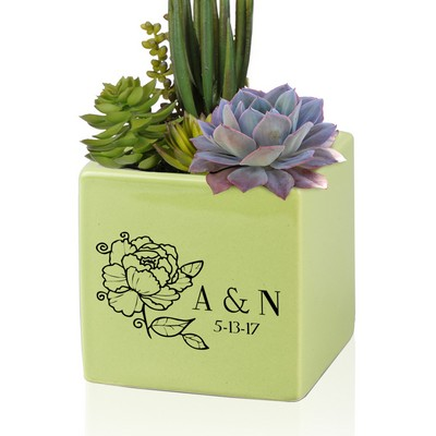 Personalized Small Green Ceramic Vase