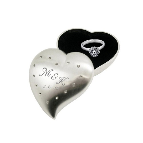 Personalized Small Heart Proposal Ring Box