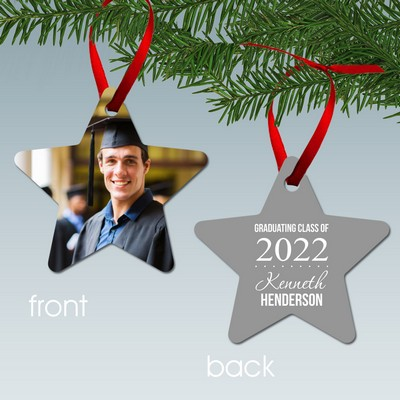 Personalized Star Graduate Aluminum Photo Ornament