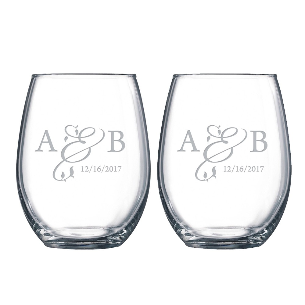 personalized stemless wine glass for couples