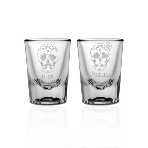 Personalized Sugar Skull Shot Glass Set for Couples