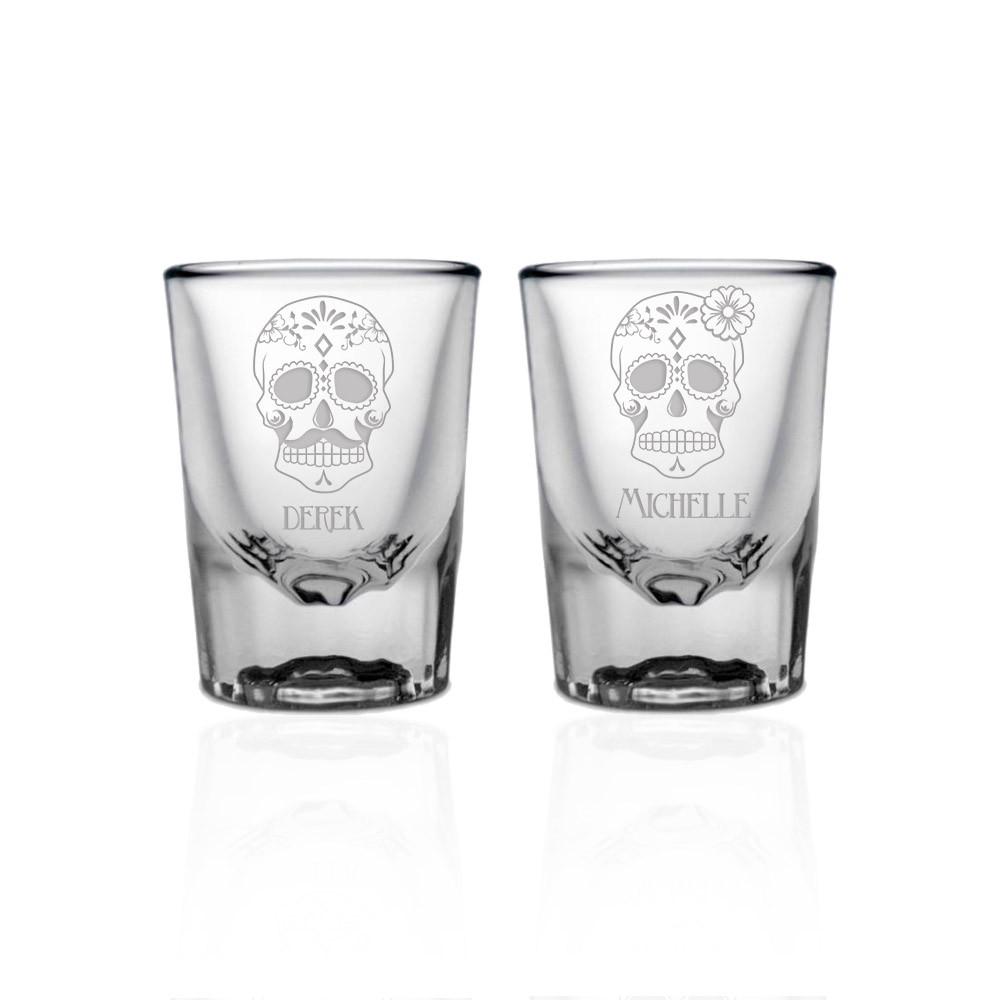 Sugar Skull Wedding Shot Glass - Glass Designs