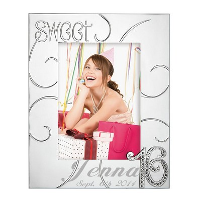 Personalized Sweet Sixteen 5x7 Silver Plated Picture Frame