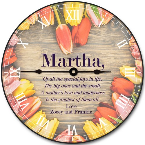 Personalized Tulip Flowers Wall Clock for Mom