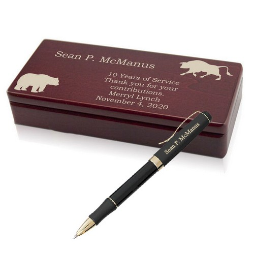 Personalized Wall Street Pen with Wooden Box