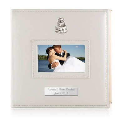 Personalized Wedding 4x6 Album with Silver Wedding Cake