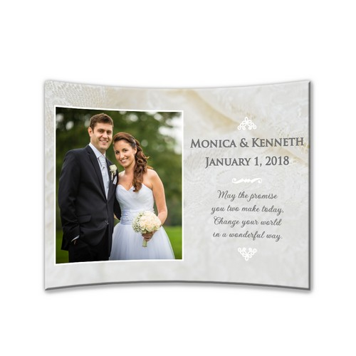 "Personalized Wedding Curved Acrylic 5"" x 7"" Photo Panel"