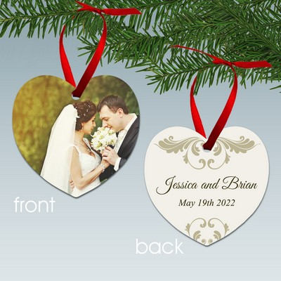 Personalized Wedding Photo Couples Heart Ornament