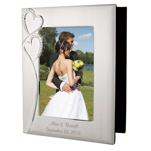Personalized Wedding Romance Silver Photo Album with Frame
