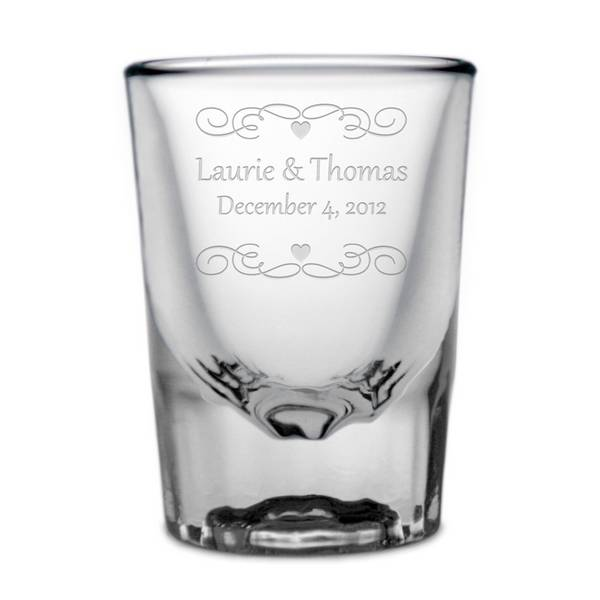 personalized wedding shot glass engraved wedding shotglass